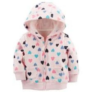 Carter's Baby Girl Pink Hearts Zip Up Hoodie 12M